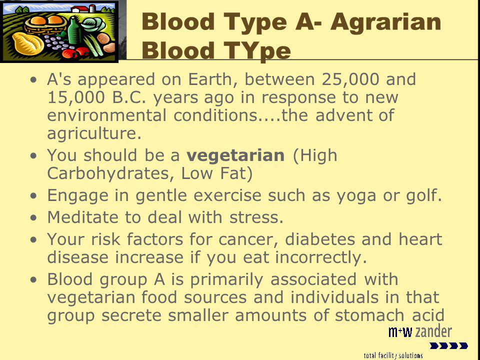 Blood Type A- Agrarian Blood TYpe A s appeared on Earth, between 25,000 and 15,000 B.C.