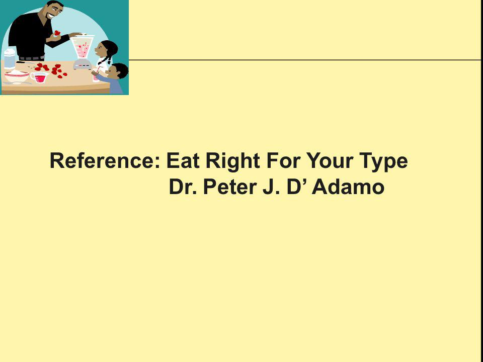 Reference: Eat Right For Your Type Dr. Peter J. D Adamo