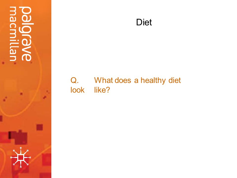 Diet Q.What does a healthy diet look like