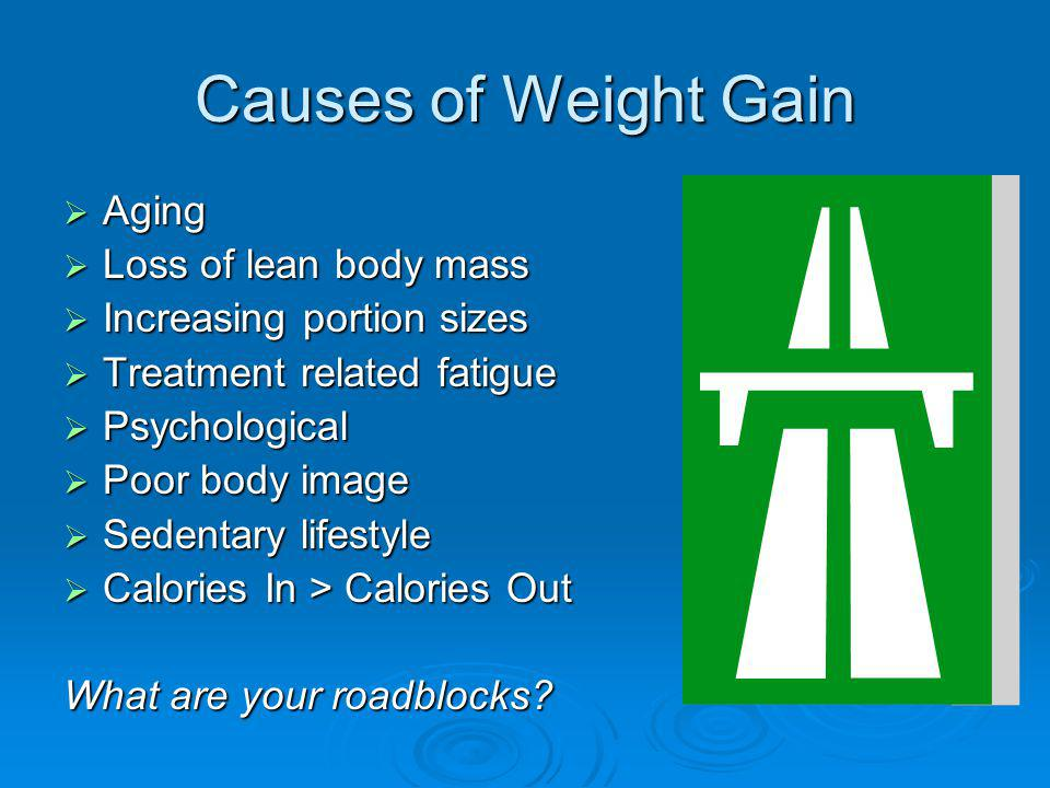 Causes of Weight Gain Aging Aging Loss of lean body mass Loss of lean body mass Increasing portion sizes Increasing portion sizes Treatment related fatigue Treatment related fatigue Psychological Psychological Poor body image Poor body image Sedentary lifestyle Sedentary lifestyle Calories In > Calories Out Calories In > Calories Out What are your roadblocks