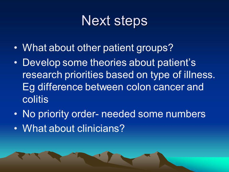 Next steps What about other patient groups.