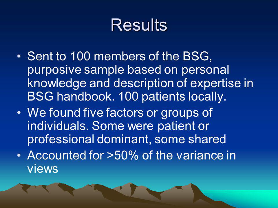 Results Sent to 100 members of the BSG, purposive sample based on personal knowledge and description of expertise in BSG handbook.