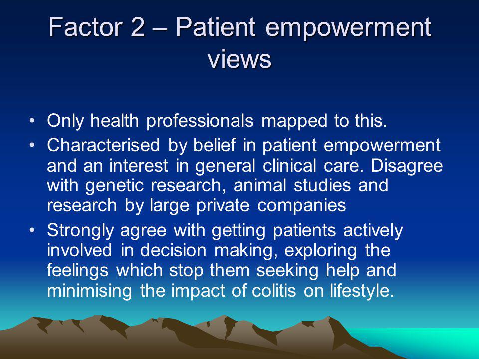 Factor 2 – Patient empowerment views Only health professionals mapped to this.