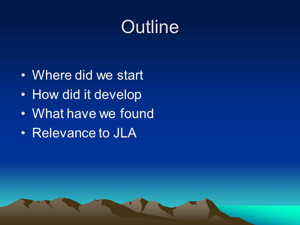 Outline Where did we start How did it develop What have we found Relevance to JLA