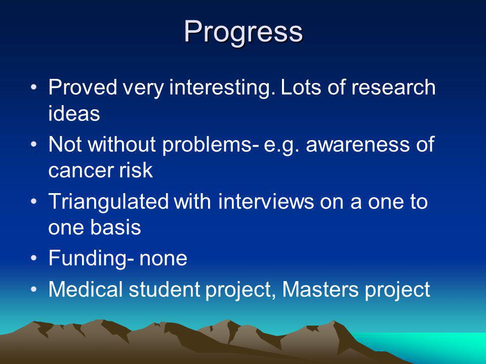 Progress Proved very interesting. Lots of research ideas Not without problems- e.g.