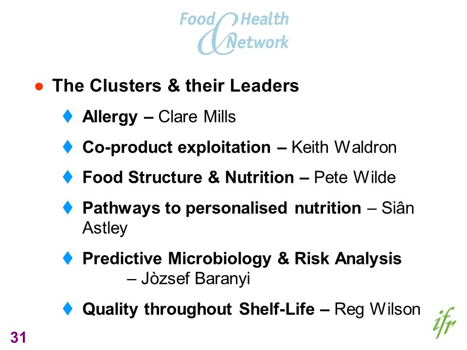 31 The Clusters & their Leaders Allergy – Clare Mills Co-product exploitation – Keith Waldron Food Structure & Nutrition – Pete Wilde Pathways to personalised nutrition – Siân Astley Predictive Microbiology & Risk Analysis – Jòzsef Baranyi Quality throughout Shelf-Life – Reg Wilson