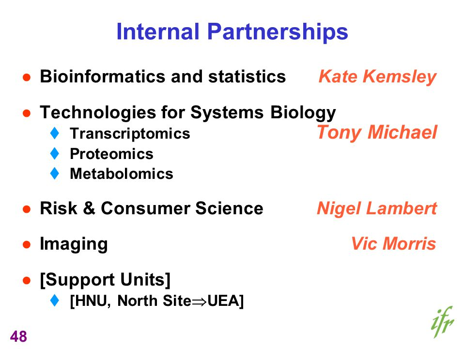 48 Internal Partnerships Bioinformatics and statistics Kate Kemsley Technologies for Systems Biology Transcriptomics Tony Michael Proteomics Metabolomics Risk & Consumer ScienceNigel Lambert Imaging Vic Morris [Support Units] [HNU, North Site UEA]
