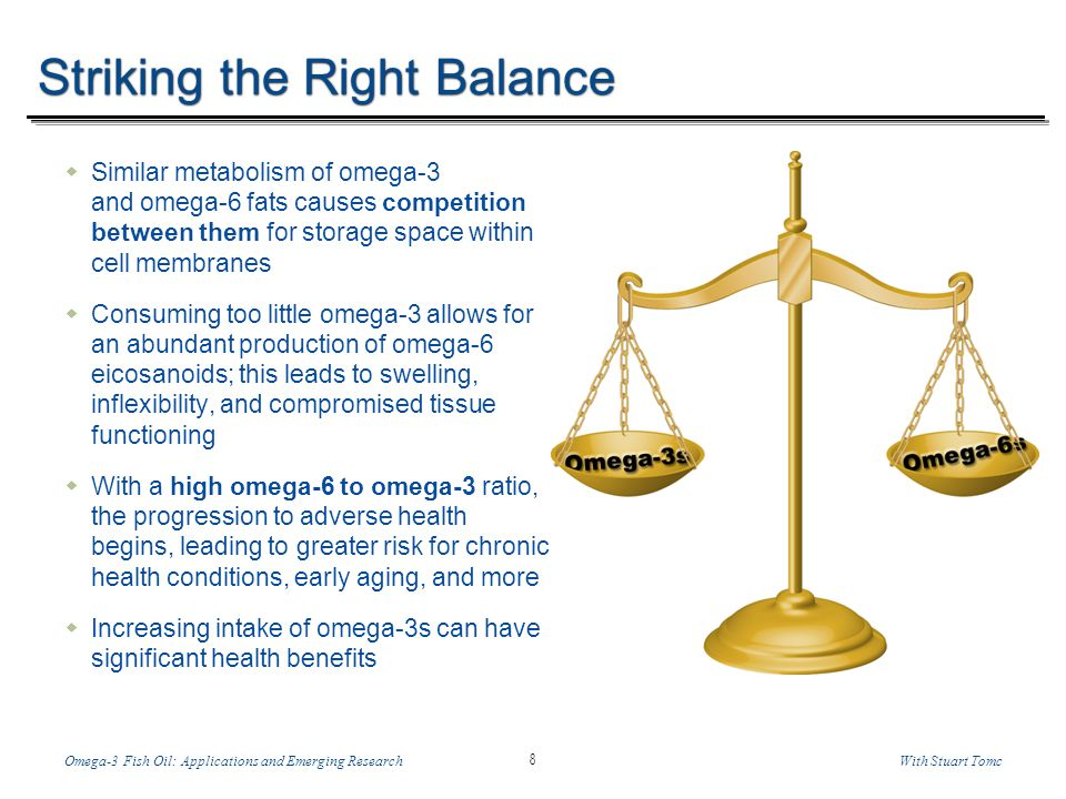 Temp-A.ppt 6/8/2014 8 8 Omega-3 Fish Oil: Applications and Emerging ResearchWith Stuart Tomc Striking the Right Balance Similar metabolism of omega-3 and omega-6 fats causes competition between them for storage space within cell membranes Consuming too little omega-3 allows for an abundant production of omega-6 eicosanoids; this leads to swelling, inflexibility, and compromised tissue functioning With a high omega-6 to omega-3 ratio, the progression to adverse health begins, leading to greater risk for chronic health conditions, early aging, and more Increasing intake of omega-3s can have significant health benefits