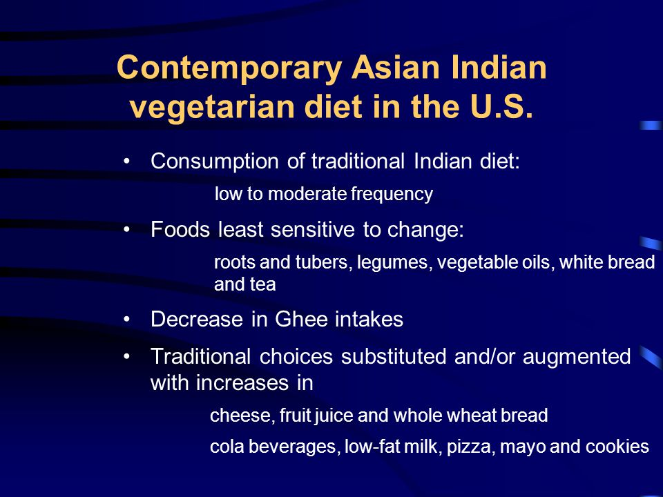 Contemporary Asian Indian vegetarian diet in the U.S.