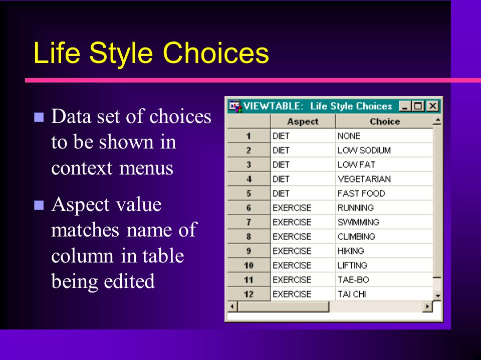 Life Style Choices n Data set of choices to be shown in context menus n Aspect value matches name of column in table being edited