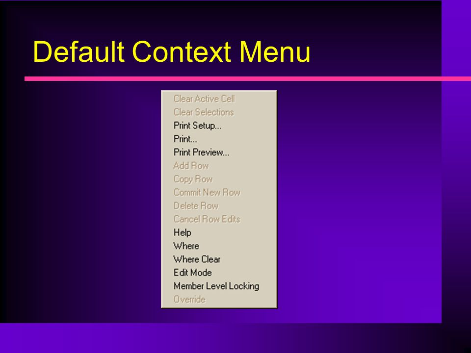 Default Context Menu