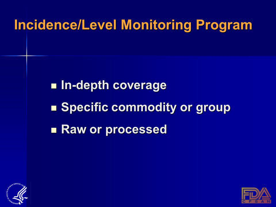 Incidence/Level Monitoring Program In-depth coverage In-depth coverage Specific commodity or group Specific commodity or group Raw or processed Raw or processed