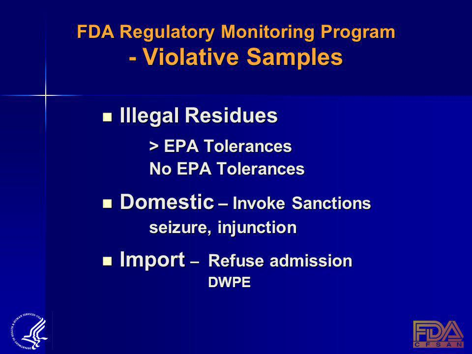FDA Regulatory Monitoring Program - Violative Samples Illegal Residues Illegal Residues > EPA Tolerances No EPA Tolerances Domestic – Invoke Sanctions Domestic – Invoke Sanctions seizure, injunction Import – Refuse admission Import – Refuse admission DWPE DWPE