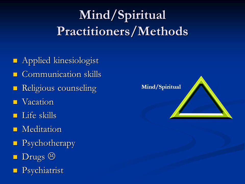 Mind/Spiritual Conditions/Effectors Losses, upsets Losses, upsets Education Education Attitude Attitude Influence of others Influence of others Overall health Overall health Energy Energy Circulation to the brain Circulation to the brain Neurotransmitters Neurotransmitters Mind/Spiritual
