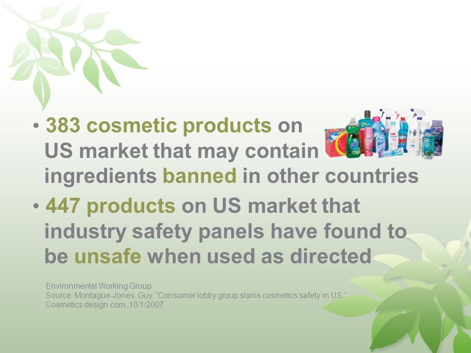 383 cosmetic products on US market that may contain ingredients banned in other countries 447 products on US market that industry safety panels have found to be unsafe when used as directed Environmental Working Group Source: Montague-Jones, Guy.