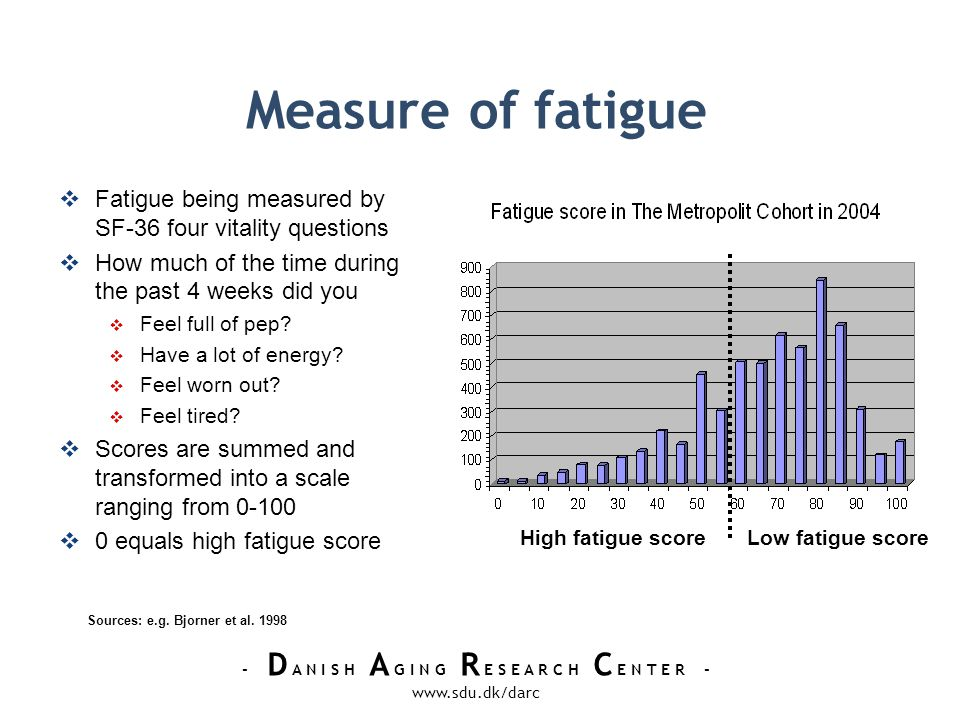 - D A N I S H A G I N G R E S E A R C H C E N T E R - www.sdu.dk/darc Measure of fatigue Fatigue being measured by SF-36 four vitality questions How much of the time during the past 4 weeks did you Feel full of pep.