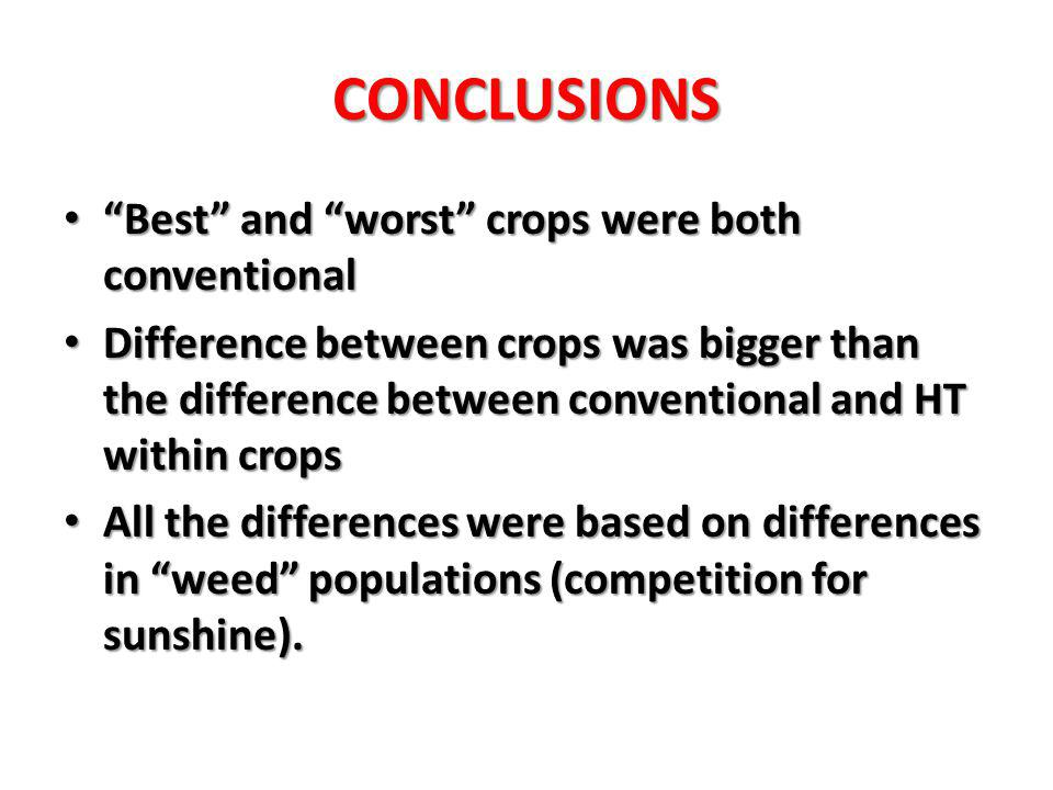 CONCLUSIONS Best and worst crops were both conventional Best and worst crops were both conventional Difference between crops was bigger than the difference between conventional and HT within crops Difference between crops was bigger than the difference between conventional and HT within crops All the differences were based on differences in weed populations (competition for sunshine).