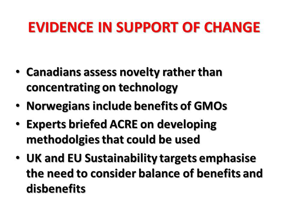 EVIDENCE IN SUPPORT OF CHANGE Canadians assess novelty rather than concentrating on technology Canadians assess novelty rather than concentrating on technology Norwegians include benefits of GMOs Norwegians include benefits of GMOs Experts briefed ACRE on developing methodolgies that could be used Experts briefed ACRE on developing methodolgies that could be used UK and EU Sustainability targets emphasise the need to consider balance of benefits and disbenefits UK and EU Sustainability targets emphasise the need to consider balance of benefits and disbenefits