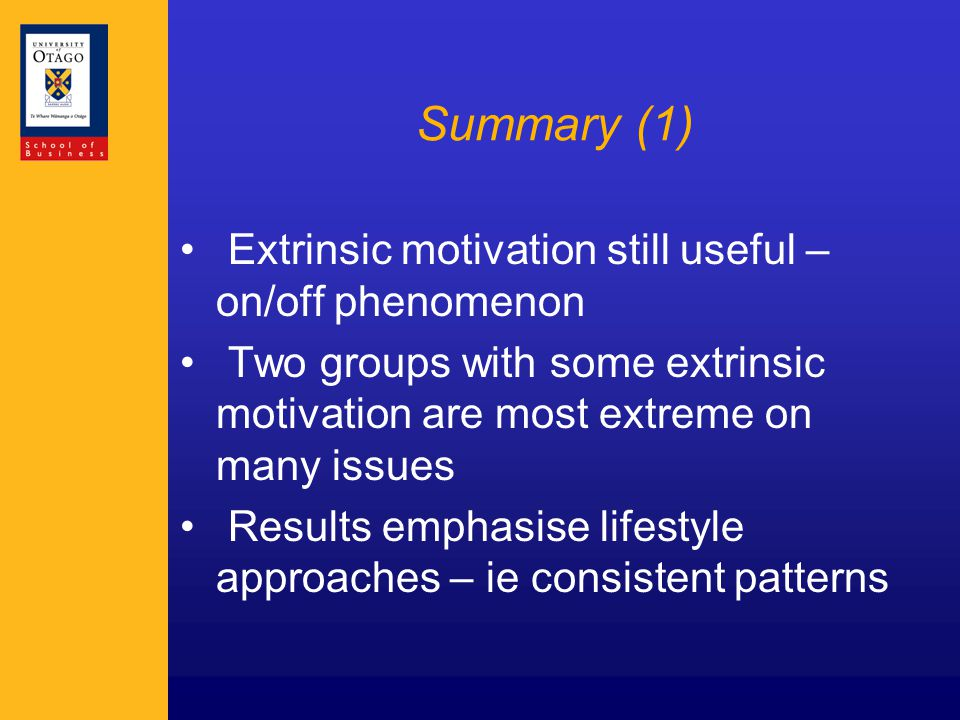 Summary (1) Extrinsic motivation still useful – on/off phenomenon Two groups with some extrinsic motivation are most extreme on many issues Results emphasise lifestyle approaches – ie consistent patterns