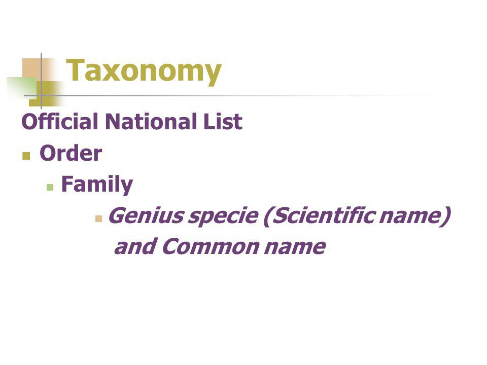 Taxonomy Official National List Order Family Genius specie (Scientific name) and Common name