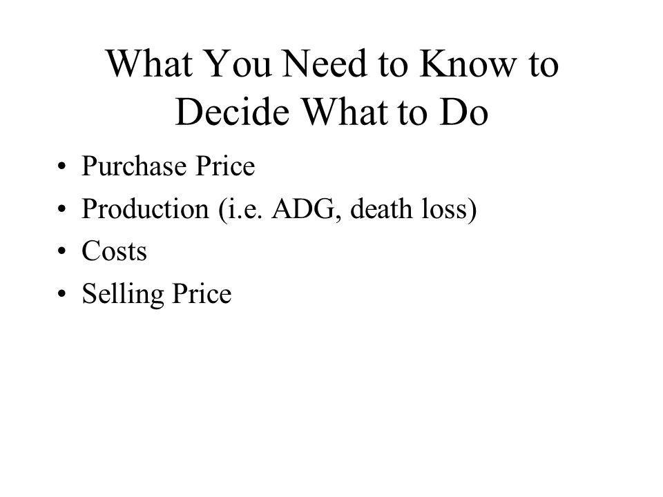 What You Need to Know to Decide What to Do Purchase Price Production (i.e.