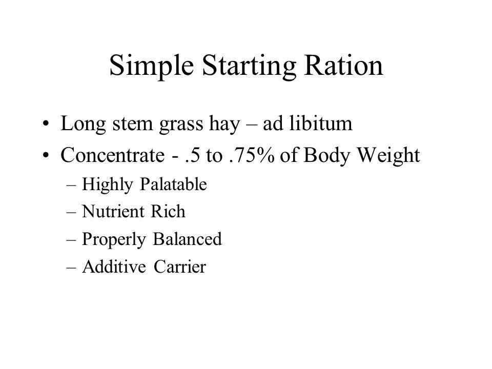 Simple Starting Ration Long stem grass hay – ad libitum Concentrate -.5 to.75% of Body Weight –Highly Palatable –Nutrient Rich –Properly Balanced –Additive Carrier