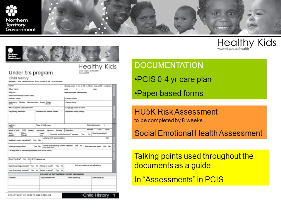 DOCUMENTATION PCIS 0-4 yr care plan Paper based forms Talking points used throughout the documents as a guide.
