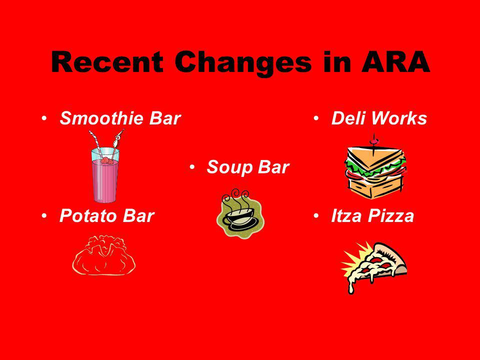 Recent Changes in ARA Smoothie Bar Potato Bar Deli Works Itza Pizza Soup Bar