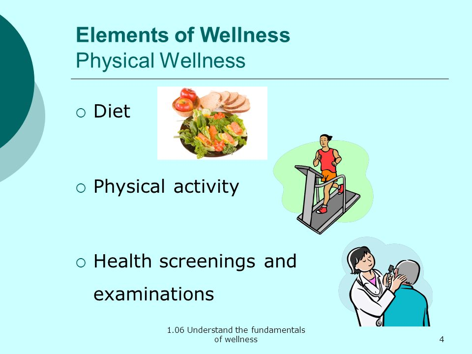 1.06 Understand the fundamentals of wellness Elements of Wellness Physical Wellness Diet Physical activity Health screenings and examinations 4