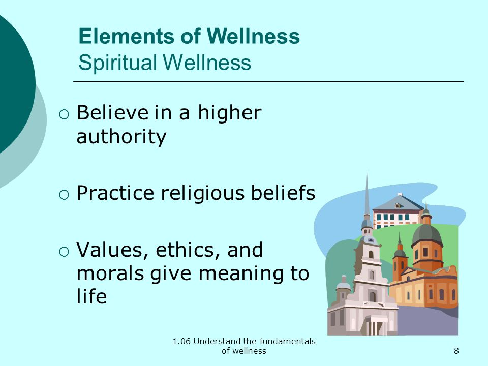 1.06 Understand the fundamentals of wellness Elements of Wellness Spiritual Wellness Believe in a higher authority Practice religious beliefs Values, ethics, and morals give meaning to life 8