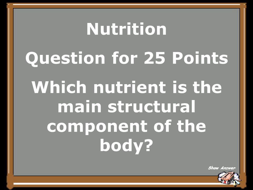 Nutrition Answer for 20 Points 5,000 times Back to Board