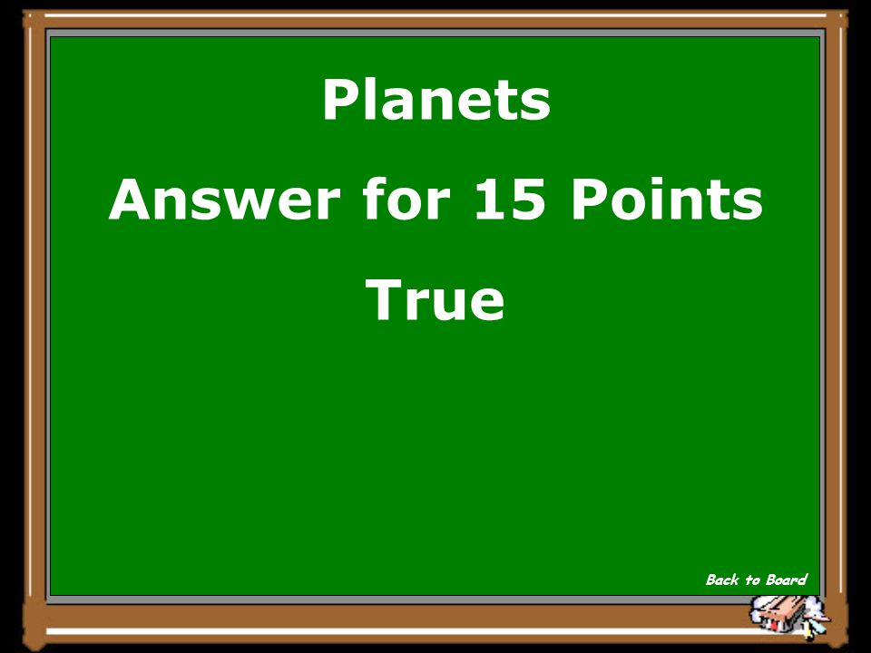 Planets Question for 15 Points True or False All of the Jovial or gas planets have rings.