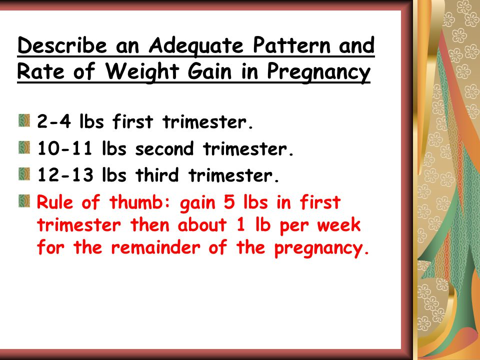Describe an Adequate Pattern and Rate of Weight Gain in Pregnancy 2-4 lbs first trimester.