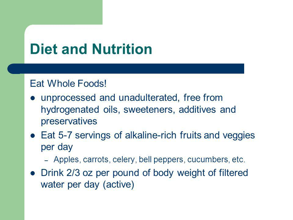 Diet and Nutrition Eat Whole Foods.
