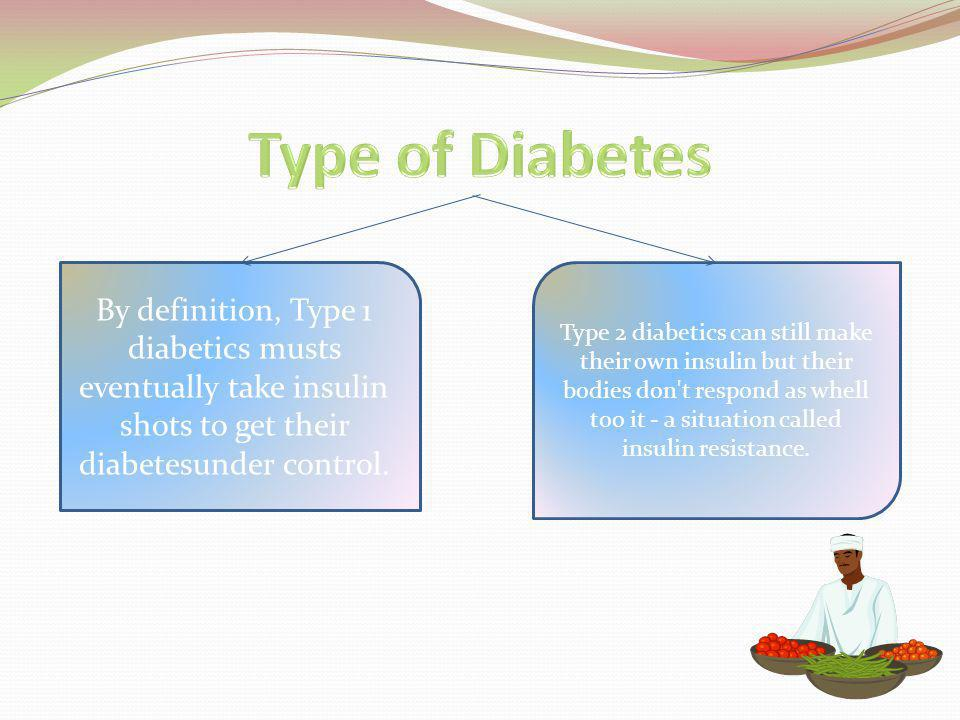 By definition, Type 1 diabetics musts eventually take insulin shots to get their diabetesunder control.