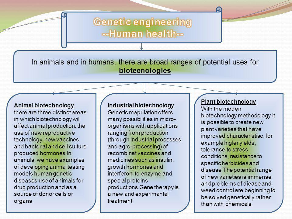 In animals and in humans, there are broad ranges of potential uses for biotecnologies Animal biotechnology there are three distinct areas in which biotechnology will affect animal production: the use of new reproductive technology, new vaccines and bacterial and cell culture produced hormones.In animals, we have examples of developing animal testing models human genetic diseases use of animals for drug production and as a source of donor cells or organs.