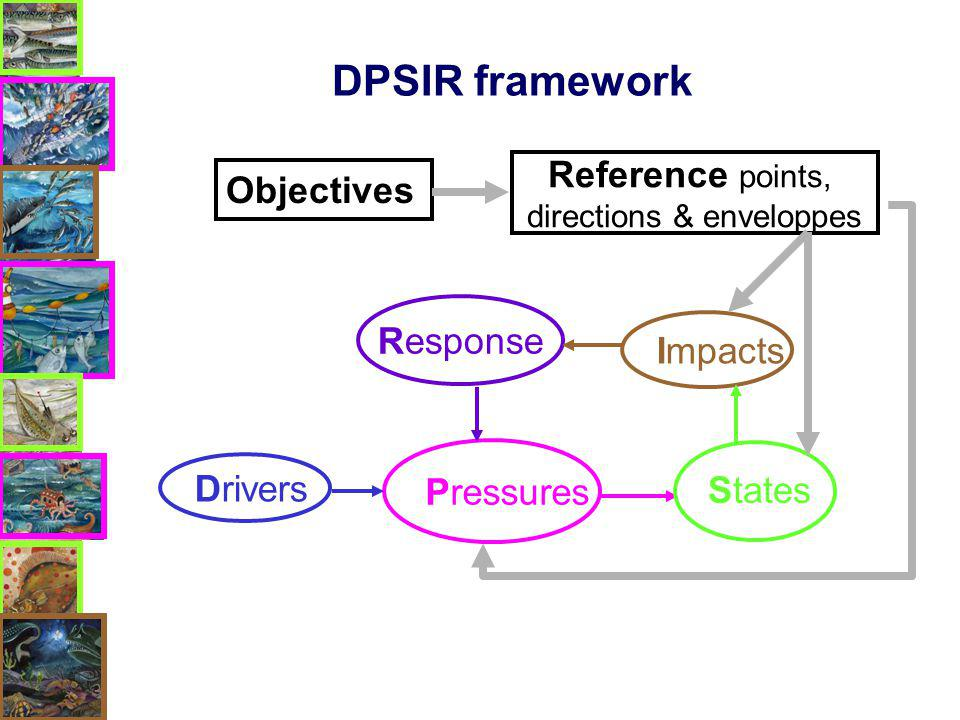 DPSIR framework Objectives Response Pressures Drivers Impacts States Reference points, directions & enveloppes
