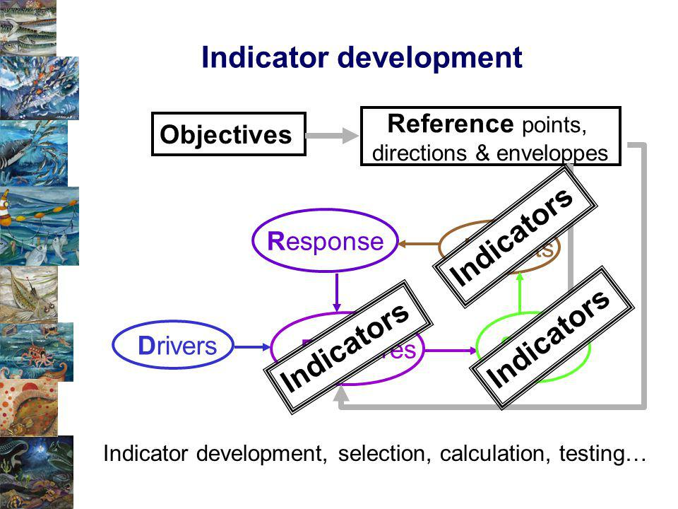 Indicator development Objectives Response Pressures Drivers Impacts States Reference points, directions & enveloppes Indicators Indicator development, selection, calculation, testing…