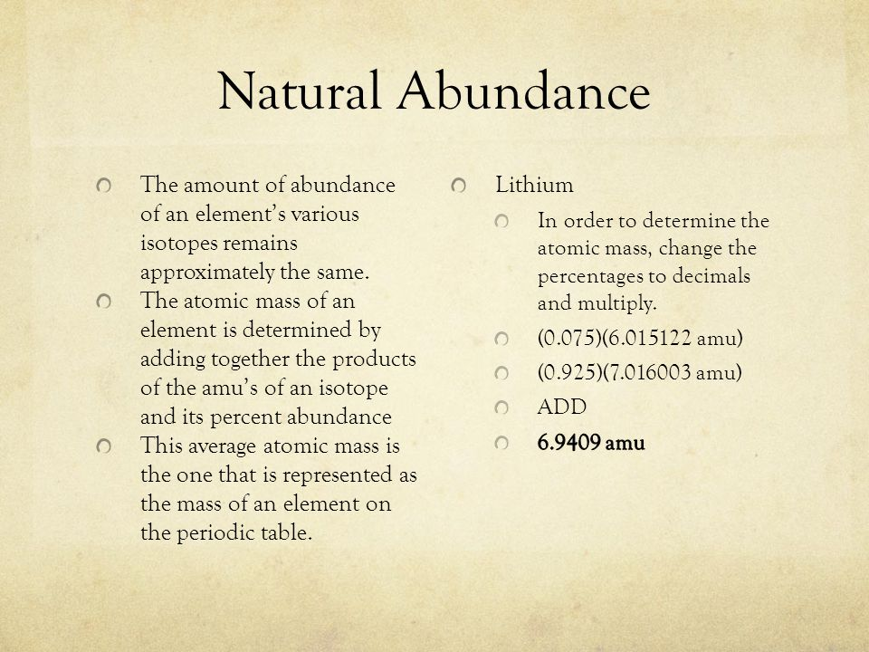 Natural Abundance The amount of abundance of an elements various isotopes remains approximately the same.