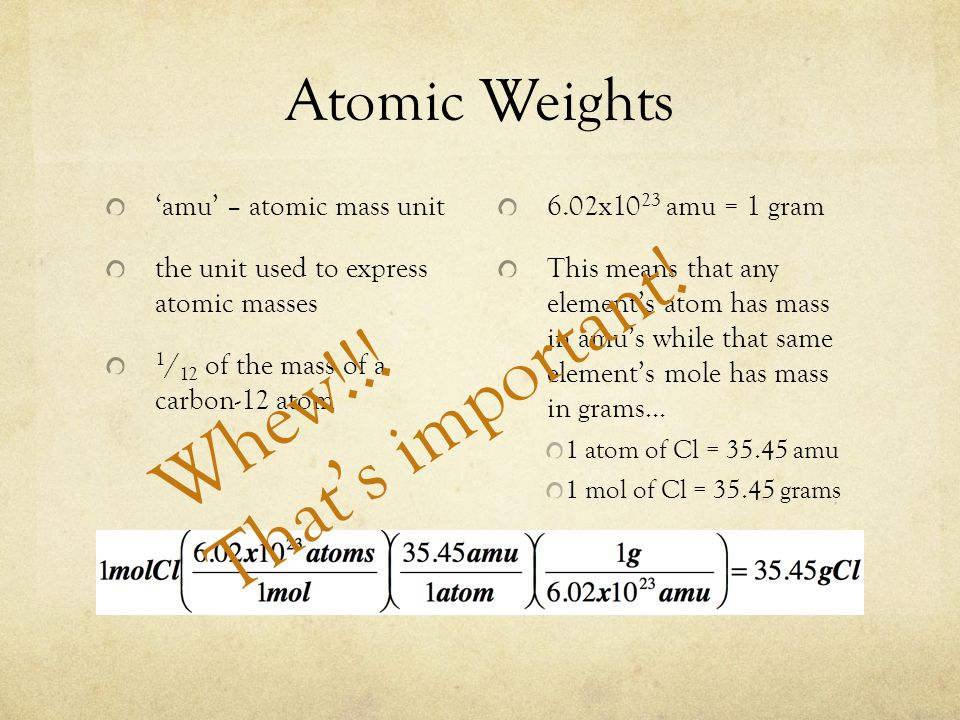 Atomic Weights amu – atomic mass unit the unit used to express atomic masses 1 / 12 of the mass of a carbon-12 atom 6.02x10 23 amu = 1 gram This means that any elements atom has mass in amus while that same elements mole has mass in grams… 1 atom of Cl = 35.45 amu 1 mol of Cl = 35.45 grams Whew!!.