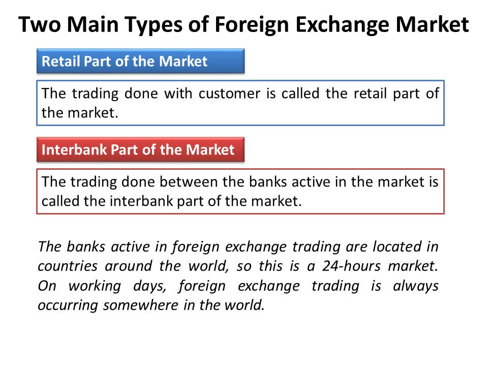Two Main Types of Foreign Exchange Market Retail Part of the Market The trading done with customer is called the retail part of the market.