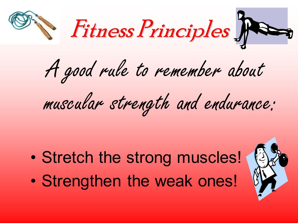 Fitness Principles A good rule to remember about muscular strength and endurance: Stretch the strong muscles.
