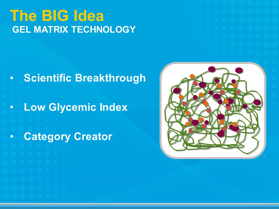 The BIG Idea GEL MATRIX TECHNOLOGY Category Creator Scientific Breakthrough Low Glycemic Index