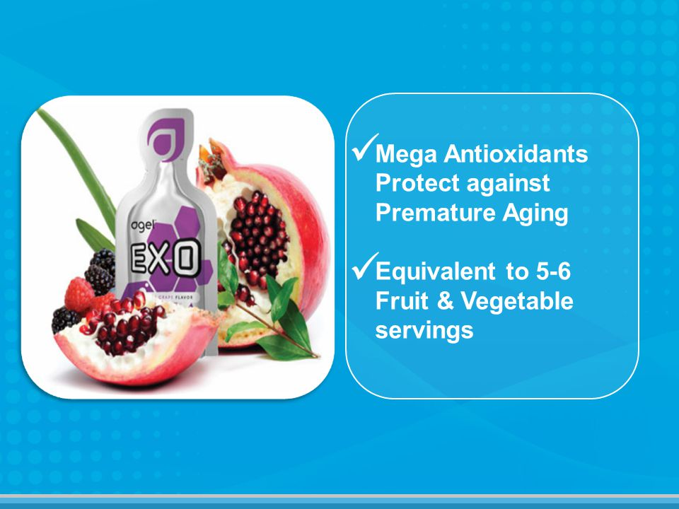 Mega Antioxidants Protect against Premature Aging Equivalent to 5-6 Fruit & Vegetable servings