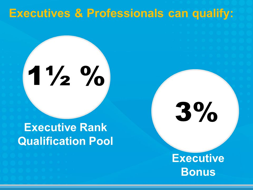 1½ % 3% Executives & Professionals can qualify: Executive Bonus Executive Rank Qualification Pool