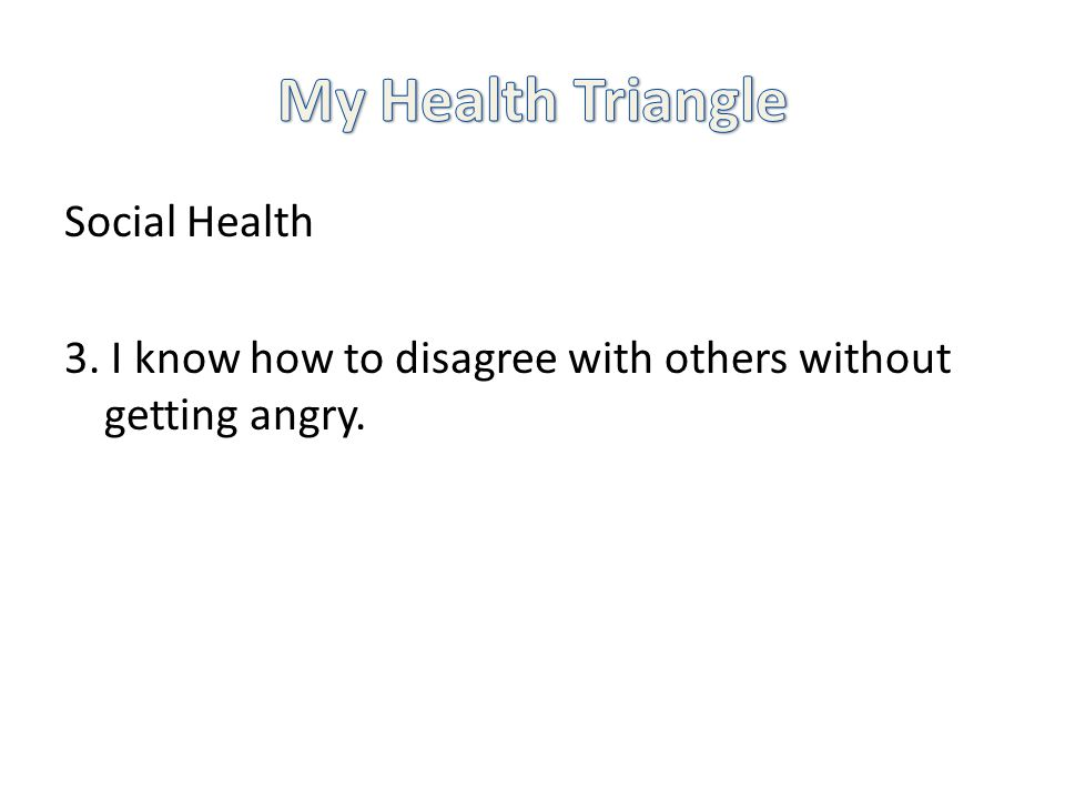 Social Health 3. I know how to disagree with others without getting angry.