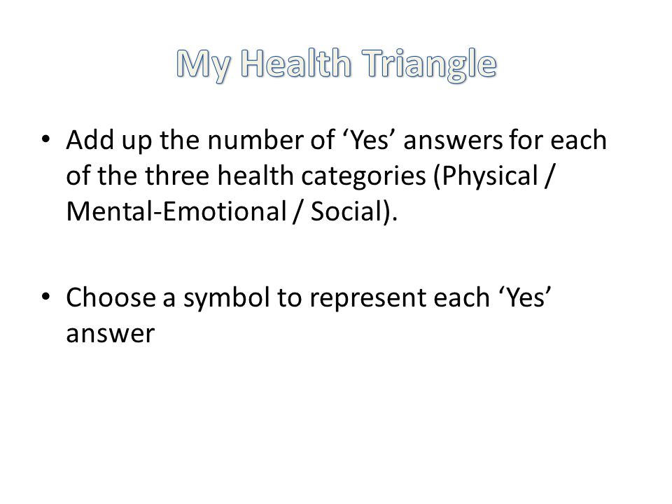 Add up the number of Yes answers for each of the three health categories (Physical / Mental-Emotional / Social).
