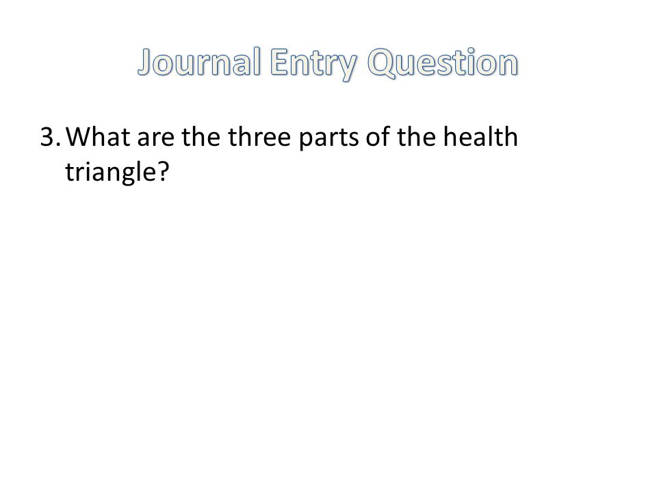 3.What are the three parts of the health triangle