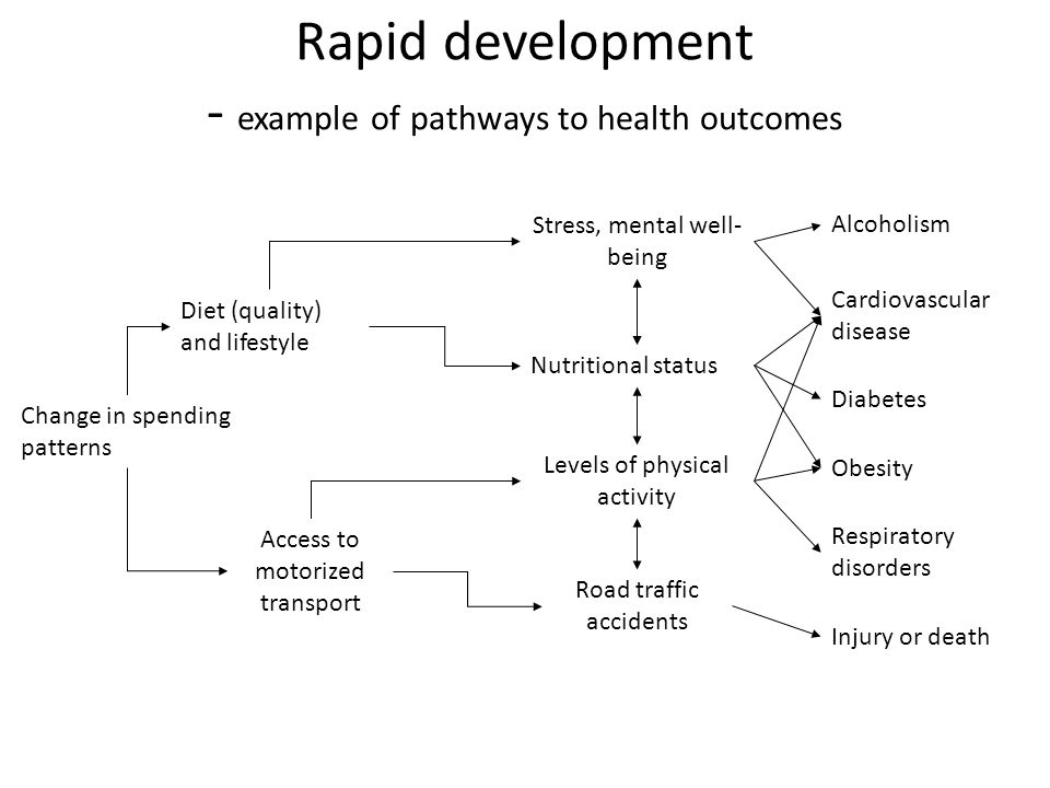 Rapid development - example of pathways to health outcomes Change in spending patterns Diet (quality) and lifestyle Cardiovascular disease Diabetes Obesity Alcoholism Respiratory disorders Injury or death Access to motorized transport Nutritional status Levels of physical activity Stress, mental well- being Road traffic accidents