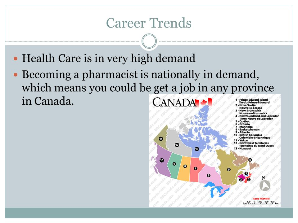 Career Trends Health Care is in very high demand Becoming a pharmacist is nationally in demand, which means you could be get a job in any province in Canada.